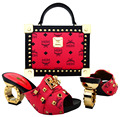 Italian Shoes with Matching Bags Shoes and Bags To Match African Shoe and Bag Set for Party In Women Italian Design BCH-22 Coarl
