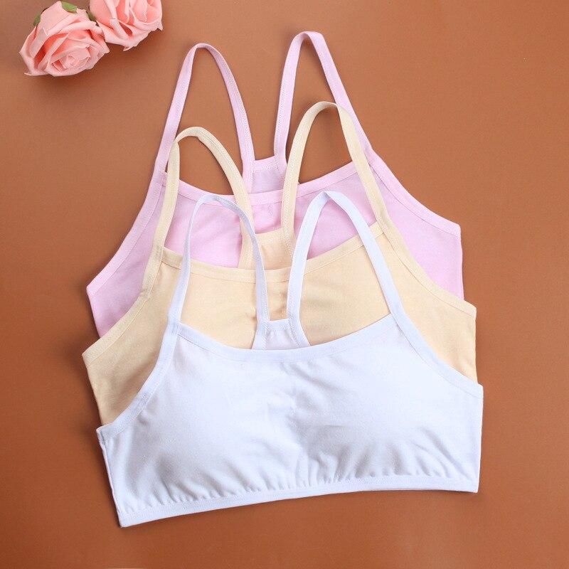 Teenage Underwear Cotton Student Bra Heart-shaped Vest And Development Of Girls Solid Color Underwear 8-15 Y
