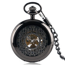 Classic Black Steampunk Men Women Mechanical Hand Winding Vintage Pocket Watch Necklace Gift Exquisite Fob Watches Relojes
