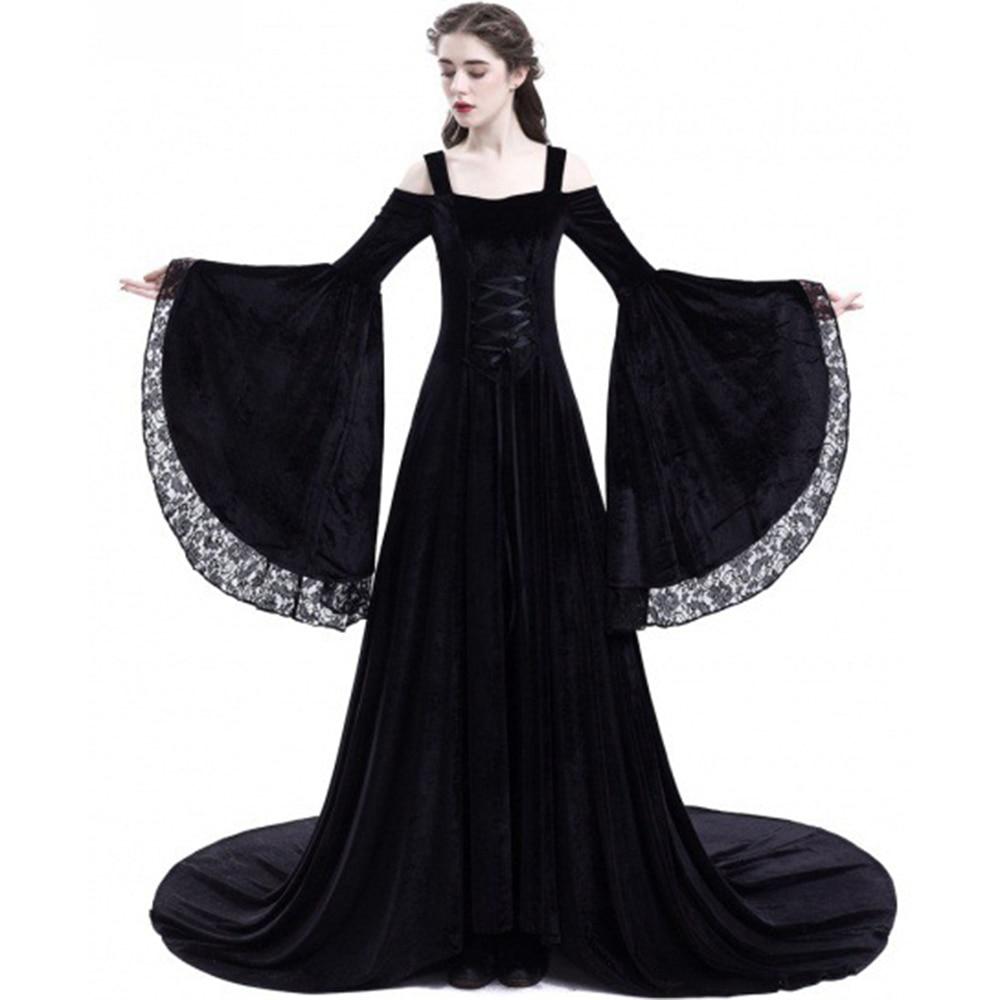 Rosetic Long Maxi Dress Renaissance Bandage Medieval Gown Elegant Goth Lace  Flare Sleeve Slash Neck Retro Plus Size Female Dress