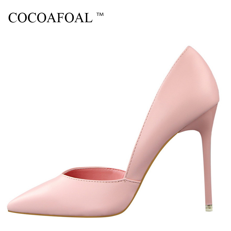 COCOAFOAL Woman Red Wedding High Heels Shoes Fashion Sexy Gray Pink Pumps Shallow White Pointed Toe Bridal Shoes Sapato Feminino shoes woman flock metal decoration pumps high heels sandals slip on pointed toe shoes shallow balck red pink gray khaki green