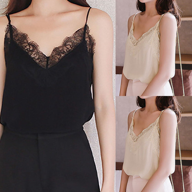 Casual Sexy Lace Sleeveless Vest Shirt Tank Blouse Tops 4