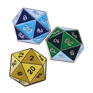 D20 эмалированный контактный набор 3 цвета двусторонний значок в виде игральных костей RPG украшения для геймеров подарок
