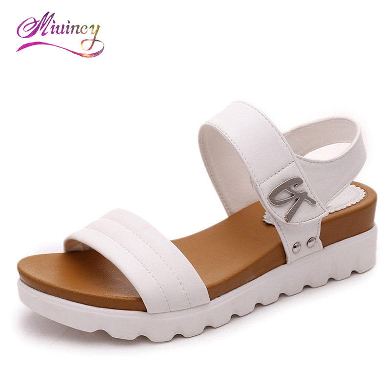 2017 new thick soles sandals female summer flat sandals full set of muffins casual Korean wave