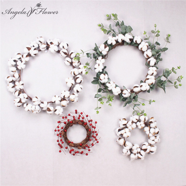 Us 8 59 40 Off New Artificial Wreath Red Berry Garland Dried Flower Cotton Wreath Door Eucalyptus Garland Candle Garden Christmas Decor Gift In
