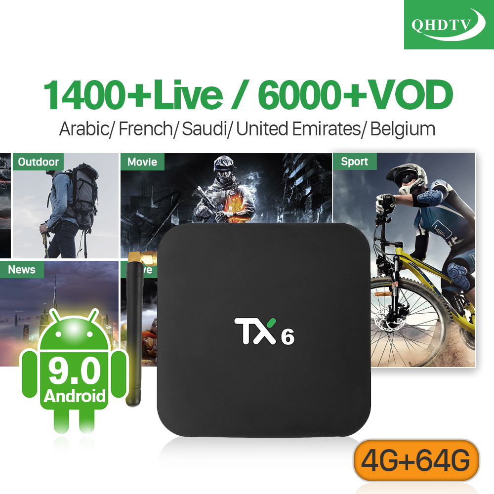 Android 9.0 Arabic France BT5.0 IPTV Box TX6 4+64G USB3.0 Dual-Band WIFI French Netherlands IP TV 1 Year QHDTV Subscription Box Android 9.0 Arabic France BT5.0 IPTV Box TX6 4+64G USB3.0 Dual-Band WIFI French Netherlands IP TV 1 Year QHDTV Subscription Box