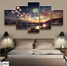 Hot Sales Without Frame 5 Panels Picture Canvas Art Colorful Fireworks Town Painting Artwork Wall Wholesale