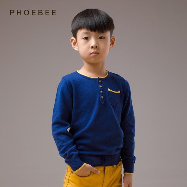 camisola menino 2016 2-8 T anos Camisolas infantis meninos crianças malha pullover camisola para meninos sweaters crianças malhas de algodão Azul cinzas primavera malha camisola menino roupas infantis menino