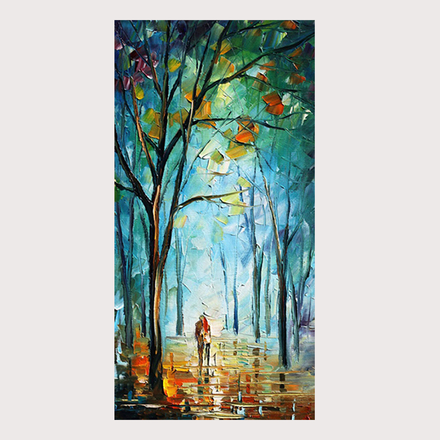 100 Handpainted Blue City Tree Street Modern Abstract Oil Paintings On Canvas Wall Art Pictures For