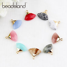 Beadsland Fan Shape Nature Stone Pendant DIY Necklace Earring For Woman Girl Gift 40296 milky blue earring and pendant necklace flower shape pendant necklace jewerly set for women gift