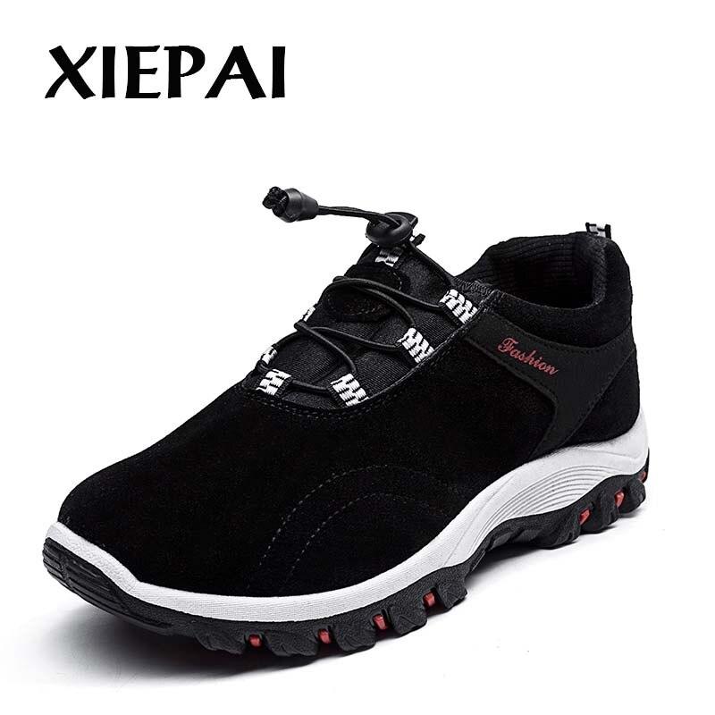 XIEPAI Для мужчин Повседневное кроссовки Уличная обувь размеры 39–44 замши верхней резиновой подошве Мужская обувь без застежки