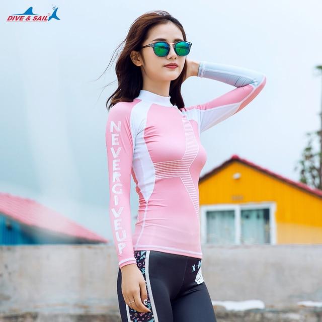 Das mulheres Manga Longa Rash Guard Proteção Solar UV Rashguard FPU 50 +  Slim-fit 55bf2213c9c