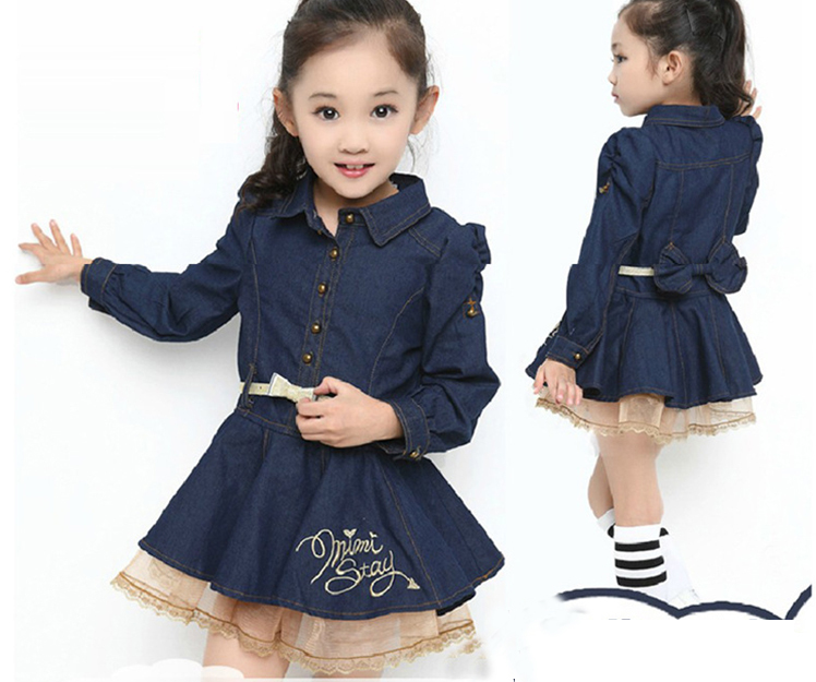 c9fd94045 Baby Girl Fall Fashion Jean Dress, Princess New Elegant Bow Clothes, 4  pieces/lot, free shipping-in Dresses from Mother & Kids on Aliexpress.com |  Alibaba ...