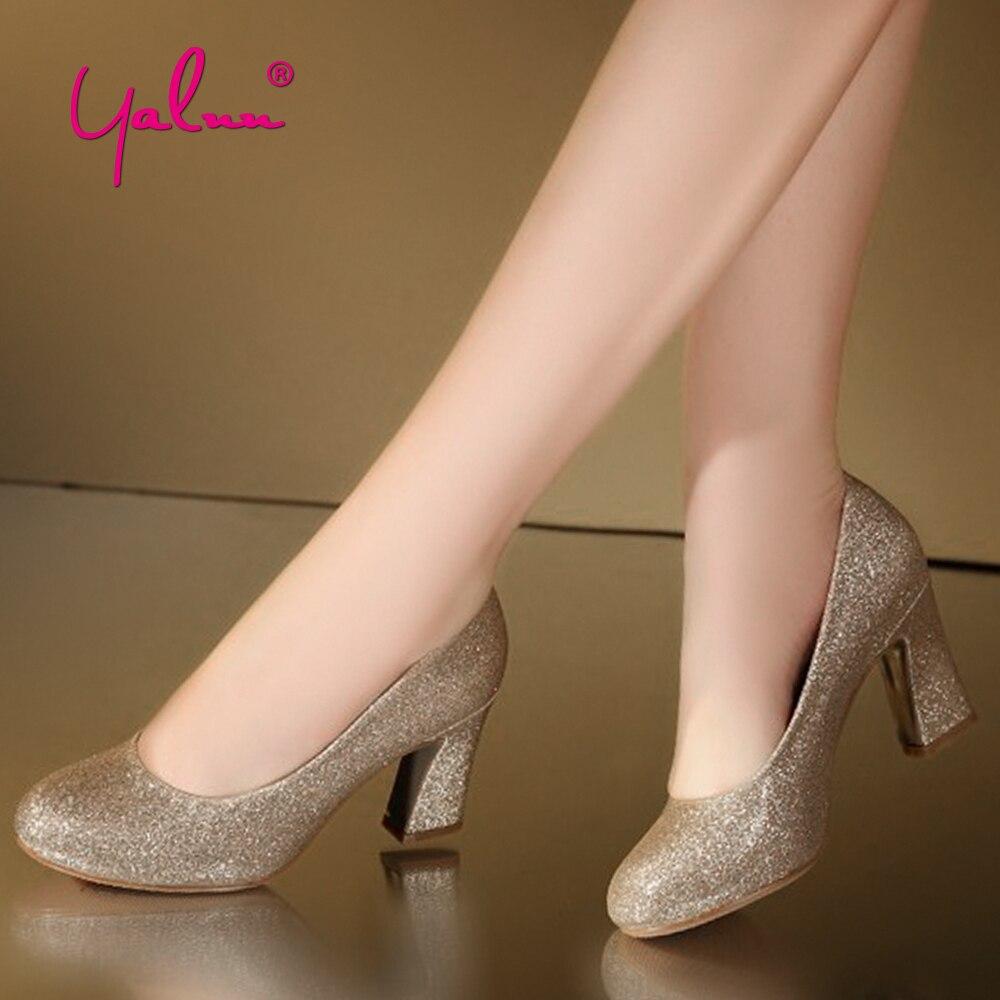 Golden Bling Wedding Shoes Bride For Women 7cm Red Bottom