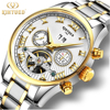 KINYUED Business Mechanical Watches Mens Skeleton Tourbillon Automatic Watch Men Gold Steel Calendar Waterproof Relojes Hombre