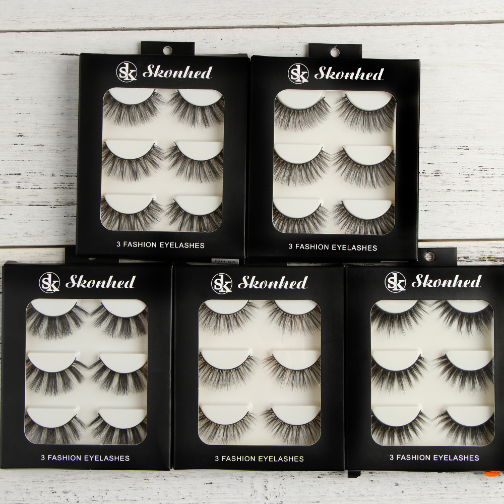 3Pairs Mink Hair False Eyelashes Set Thick Cross Cilia Professional Fake Eye Lashes Handmade Natural Long Makeup Extension Tools