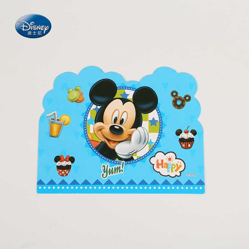 6 Uds Unids Lote Mickey Mouse Tema Tarjetas De Invitación Niños Niñas Cumpleaños Fiesta Suministros Navidad Evento Decoración Tarjeta De Felicitación