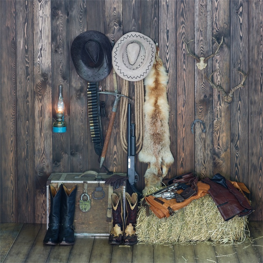 Laeacco Western Cowboy Hunting Wood Boards Scene Photography Backgrounds Vinyl Custom Camera Photo Backdrops For Photo Studio laeacco grunge old wood planks wooden texture baby photography backgrounds vinyl custom photographic backdrops for photo studio