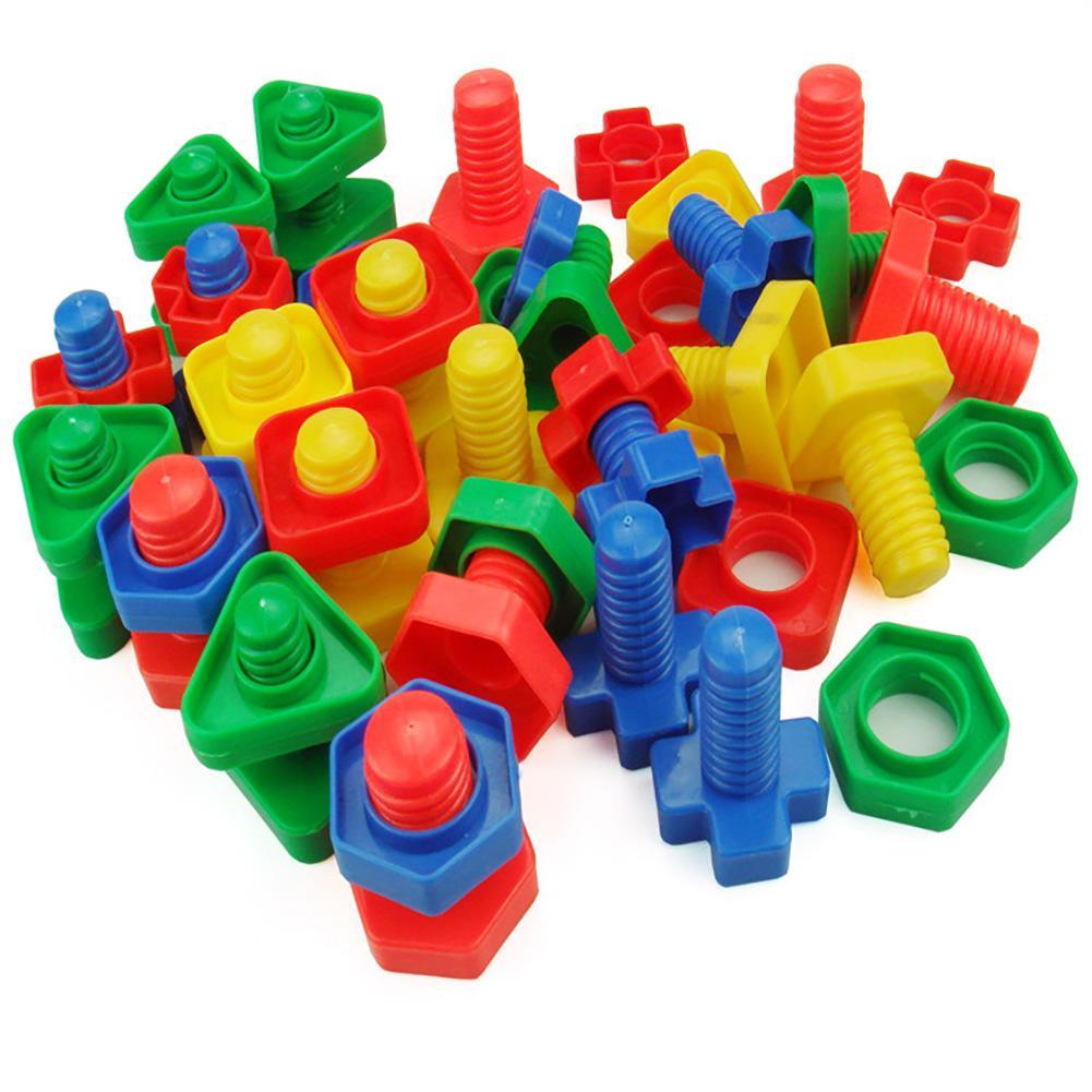 Flight Tracker Mode 52 Pcs Kleurrijke Plastic Moer Insert Bouwstenen Educatief Kinderen Speelgoed Volume Groot