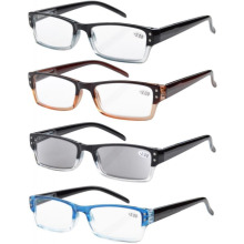 4-pack Spring Hinges Rectangular Reading Glasses para Mujeres Hombre R012 + 1.00 / 1.25 / 1.50 / 1.75 / 2.00 / 2.25 / 2.50 / 2.75 / 3.00 / 3.50 / 4.00