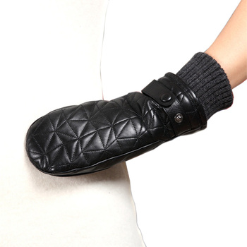 2020 New Women Genuine Leather Gloves Female Autumn Winter Plush Lined 100% Lambskin Leather Fingerless Mittens L155NY-1 2019 autumn 100