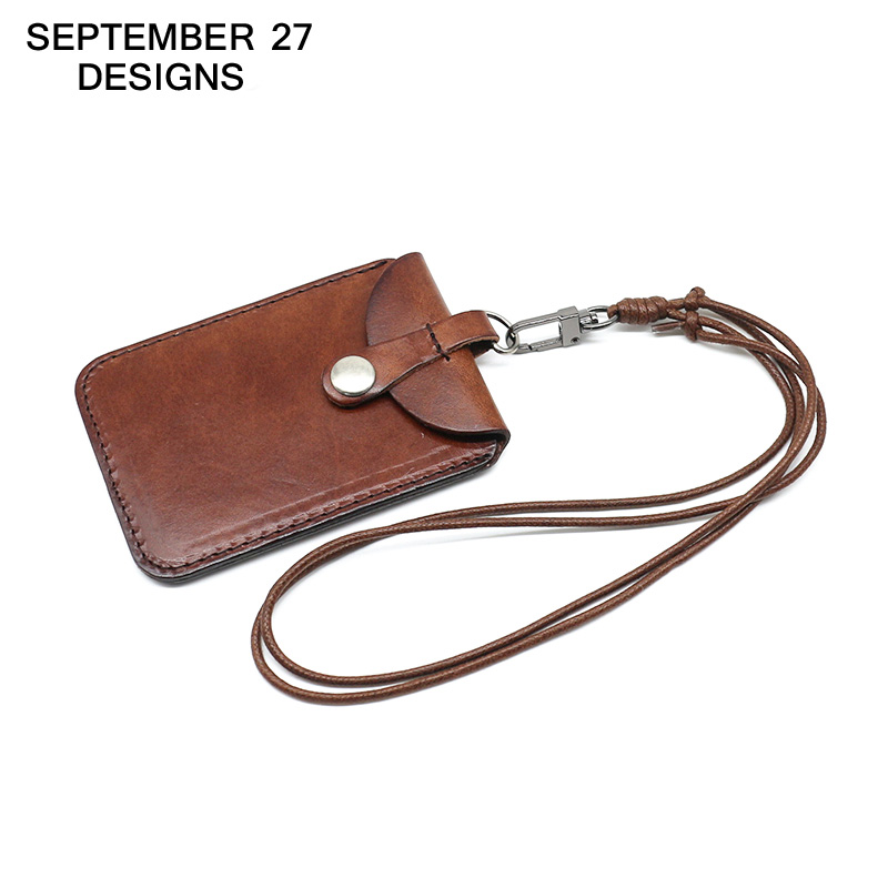Vertical Style ID Badge Holder Genuine Leather Business Case cowhide Card Holders Name Tag id card lanyard Retractable Lanyard