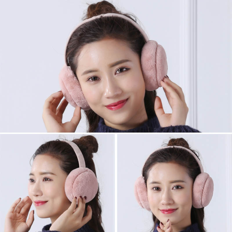 Hot Selling Earmuffs Plush Warm Foldable Christmas Gifts Solid Color Ear Warmers For Winter -B5