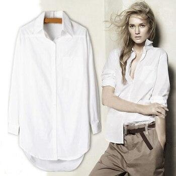 cccccdc73c0 Элегантные Длинные блузка белая рубашка для женщин женские офисные 100%  хлопковые рубашки повседневное хлопковая блузка Мода Blusas Femininas 0