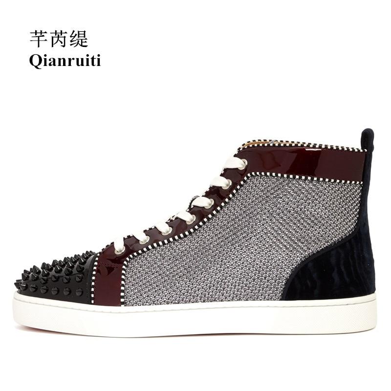 Qianruiti Men Spikes Sneaker Lace-up Round Toe Flat High Top Men Rivets  Runway Chaussures 0df321fdd203