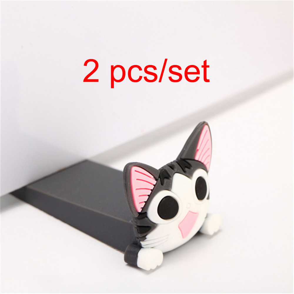 2 Pcs/set Baby Satefy Door Stopper Cartoon Children Silicone Holder Silicone Mouse Shape Door Stopper Finger Protection Corner