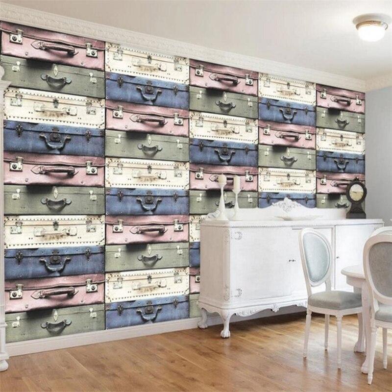 Beibehang Europäischen 3d Dreidimensionale Koffer Tv Hintergrund Wand Benutzerdefinierte Große Wandbild Grüne Tapete Papel De Parede