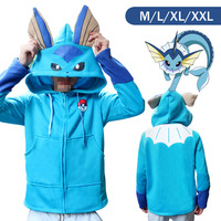 Pokemon Go Vaporeon Style Winter Warm Coat Sweater Hoodie Thermal Cosplay Cute With Ears For Lovers