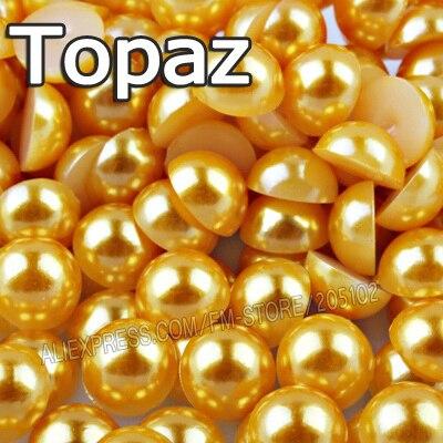 Золото Желтый Половина Круглый шарик Mix Размеры 2 мм 3 мм 4 мм 5 мм 6 мм 8 мм 12 мм имитация ABS Плоской задней Жемчуг для DIY Nail Art Аксессуары