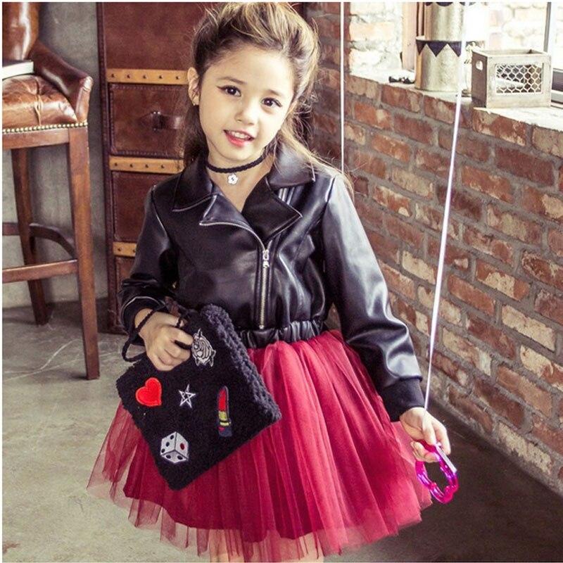 ФОТО Autumn new girls cool leather stitching net yarn dress long-sleeved dress coat the princess