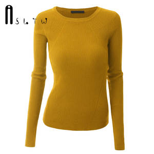 ASLTW Women Sweaters New Arrivals Fashion Solid Color Long Sleeve Pullover Plus Size High Elasticity Slim Casual Sweater Woman