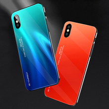 ciciber Cover For iPhone 11 Pro XR X XS MAX Phone Cases For iPhone 8 7 6 6S Plus Color Gradient Tempered Glass Funda Coque Shell ciciber dragon ball phone case for iphone 11 pro max xr x xs max tempered glass cover cases for iphone 7 8 6 6s plus funda coque