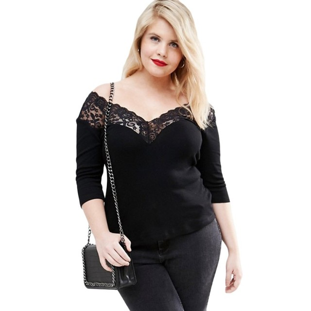 2019 Sexy women plus size xxxl tops and blouses female clothing off shoulder v lace neck spliced curve 3/4 sleeve top SA25914