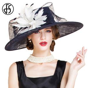 FS Ladies Wedding Church Fedora Women Dress Wide Brim Hats 29ffe37a2b9c