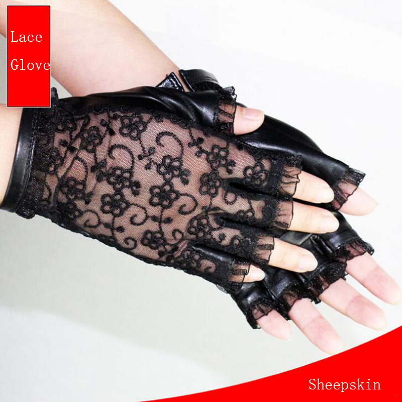 Confident Sexy Fashion Female Lace Genuine Leather Sheepskin Gloves Women Half Finger Touch Screen Phone Driving Gloves Ladies Mittens S72