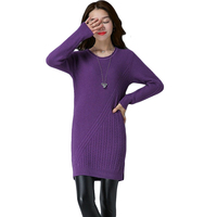 Sueter Mujer Invierno 2017 Autumn Winter Women Knitting Sweaters O Neck Long Sleeve Solid Split Long