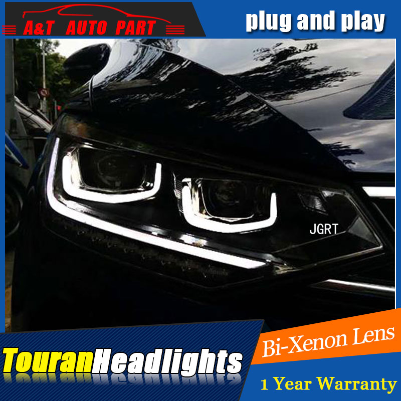 car styling LED Head Lamp for VW Touran led 2016 2017 2018 headlights for Touran drl H7 hid Bi Xenon Lens angel eye low beam-in Car Light Assembly from Automobiles & Motorcycles    1
