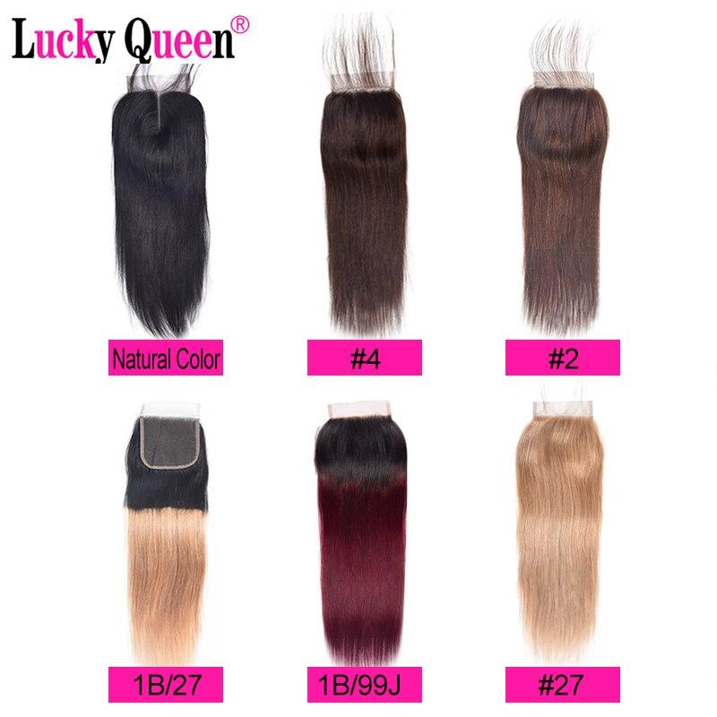 Glück Königin-brasilianischen Glattes Haar Spitze Verschluss Nicht Remy Menschliches Haar Verschluss 4*4 Ombre 1b/burgund/ 99j/27 Honig Blonde Verschluss