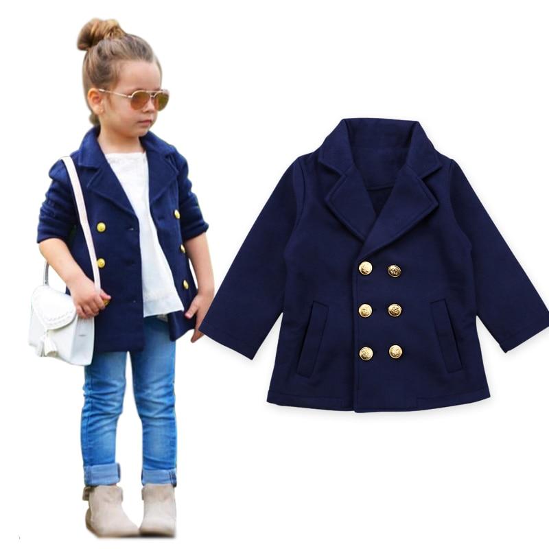 7df26456c Autumn Winter Kids Drak Blue Jackets Baby Children Girl Coat Jacket ...