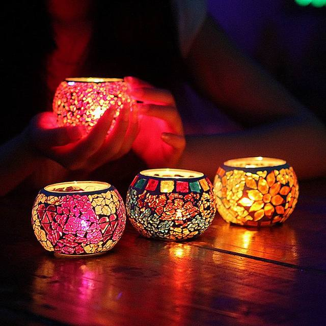 Candle Decoration Part - 48: Free Shipping 1 X Creative Mosaic Carved Glass Candle Holder Wedding Home  Table Decorative With One