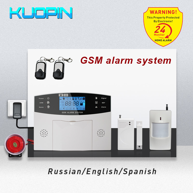 Russian/English/Spanish 8 Wired Zone Auto-Dial/SMS Motion Sensor Anti-theft Home Security Burglar Wireless GSM Alarm System KitRussian/English/Spanish 8 Wired Zone Auto-Dial/SMS Motion Sensor Anti-theft Home Security Burglar Wireless GSM Alarm System Kit