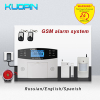 Russian/English/Spanish Language Wireless GSM Alarm System 8 Wired Zone Auto Dial/SMS Anti Burglar Home Security Alarm System