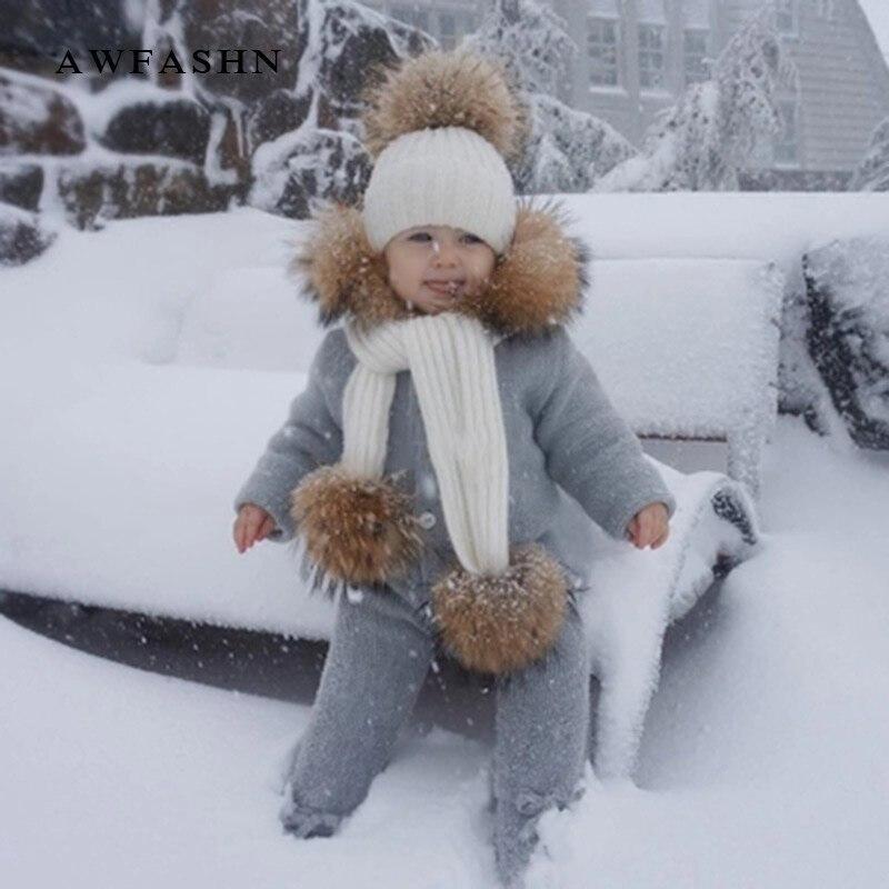 2018 Winter Cute Children Raccoon Fur Pompom Knit   Beanies   Hat Scarf 2 Pieces Set Boy Girl Soft Cap Scarves Baby Wool Kids Bone