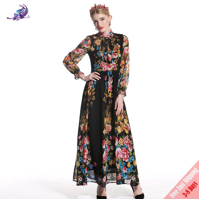High Quality Fashion Runway Maxi Dress 2018 New Long Sleeve Bow Collar Black Flower Printed Chiffon Party Long Dress Free DHL high collar long sleeve printed dress