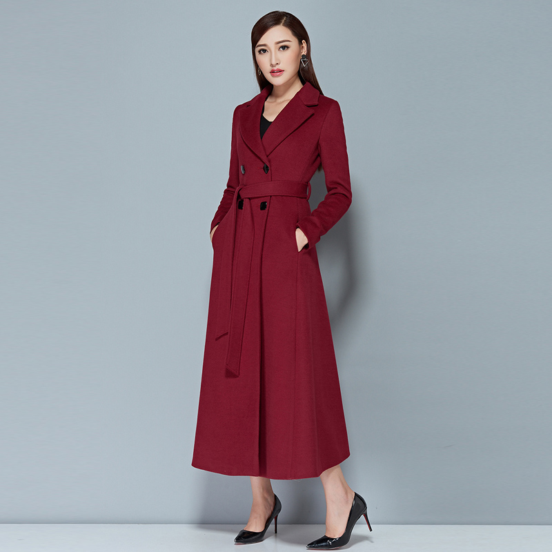 2016 New Elegant Lady Long Cashmere Coat Female European Styel Warm Autumn Winter Wool Women Jacket