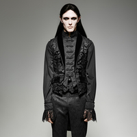 Gothic Fake Two pieces Man Swallow Tail Sleeveless Jacket Steampunk Palace Style Floral Pattern Vest Autumn Winter Jacket Coats